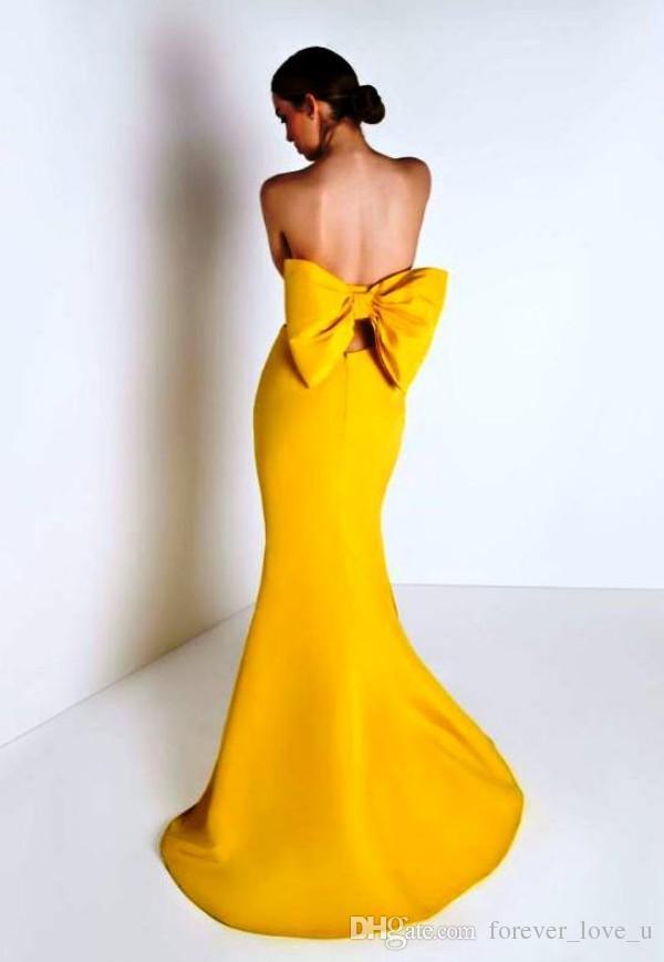 Дешевые вечерние платья высокого качества длинные формальные Русалка желтый выпускного вечера партии платья без бретелек развертки поезд замочную скважину спинки с негабаритных лук