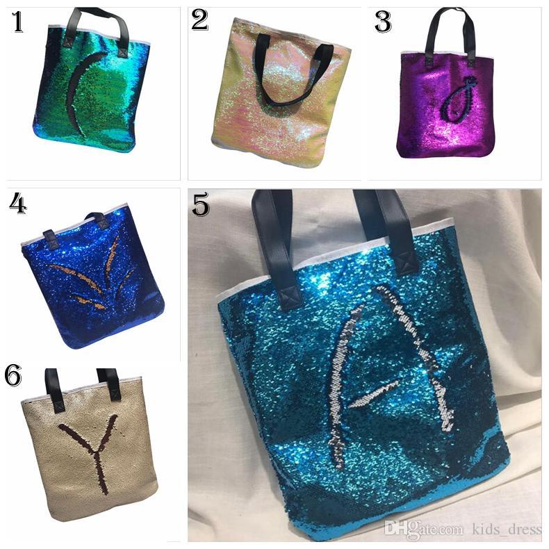 Mermaid Sequin Totes Bags Mermaid Bright Handbags Glitter Sequins Totes  Glow Reversible Shopping Bags Designer Beach Bags Diaper Bag YYA746 Diaper  Bags ... 783219ce793e8