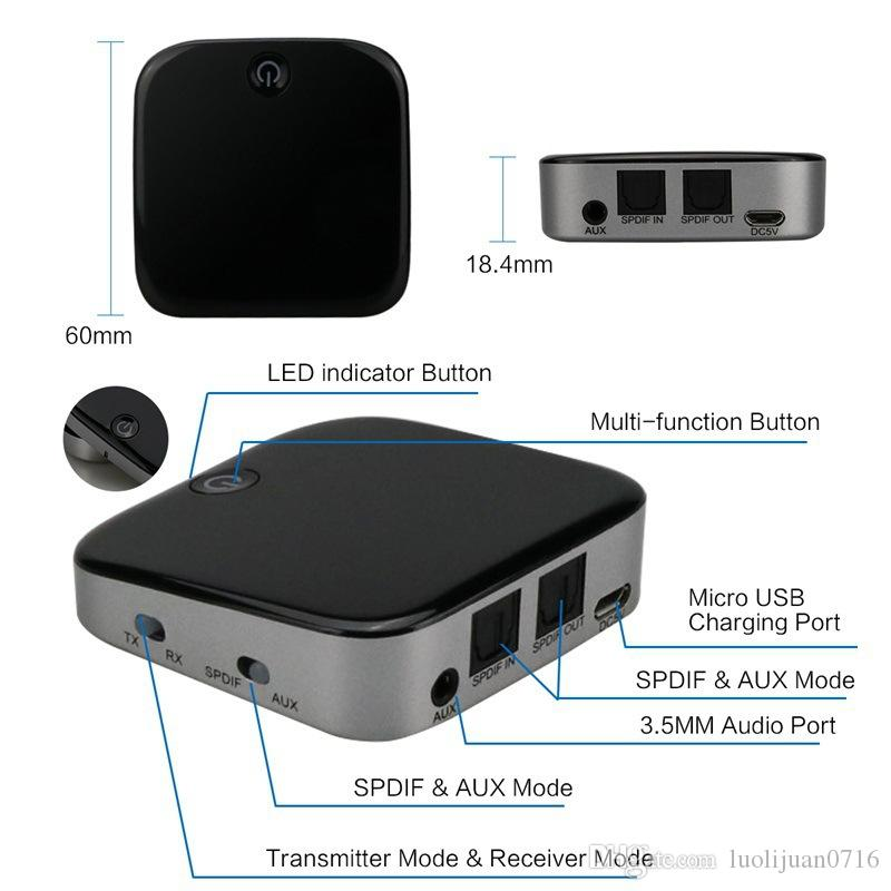 High Quality BTI-029 Bluetooth 4.1 Wireless Audio Transmitter Receiver Digital Optical Toslink SPDIF Adapter with APTX DHL