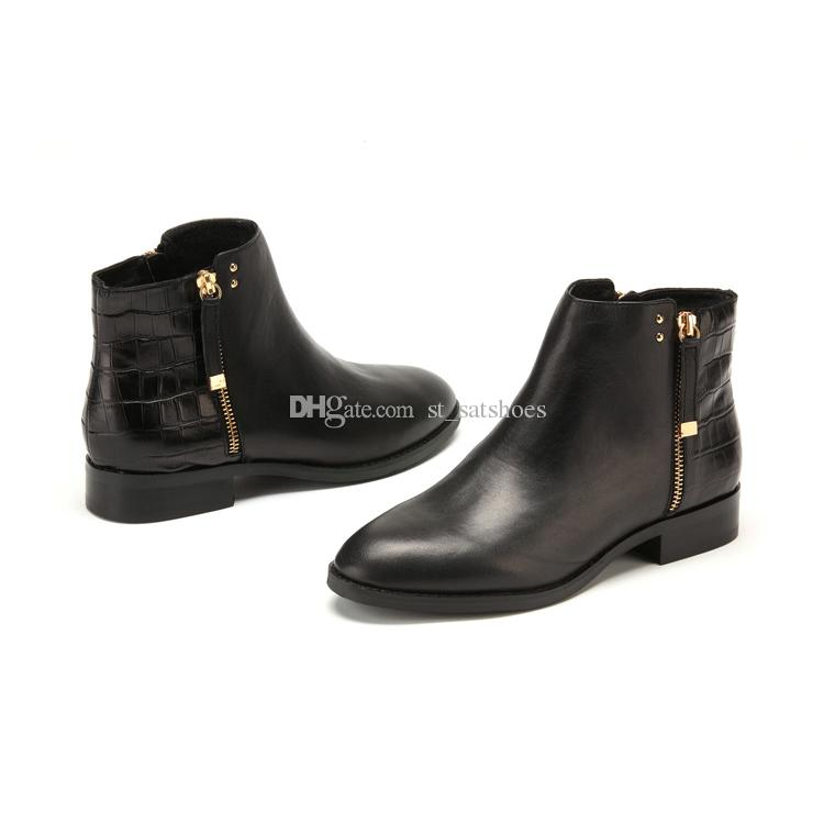 D:Fuse Brand Fashion Crocodile Boots Women Ankle Boots Flat ...