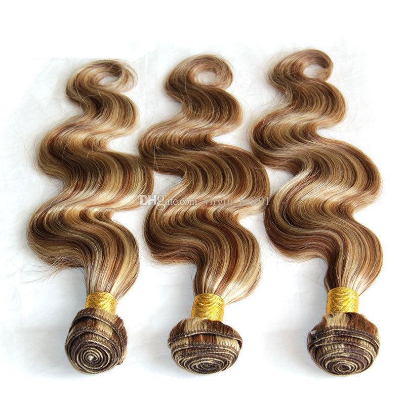 Body Wave Mix Piano Color # 8 613 3 Paquetes Marrón Rubio Extensión de cabello 100% Armadura de cabello humano Paquetes europeos para salones de bodas