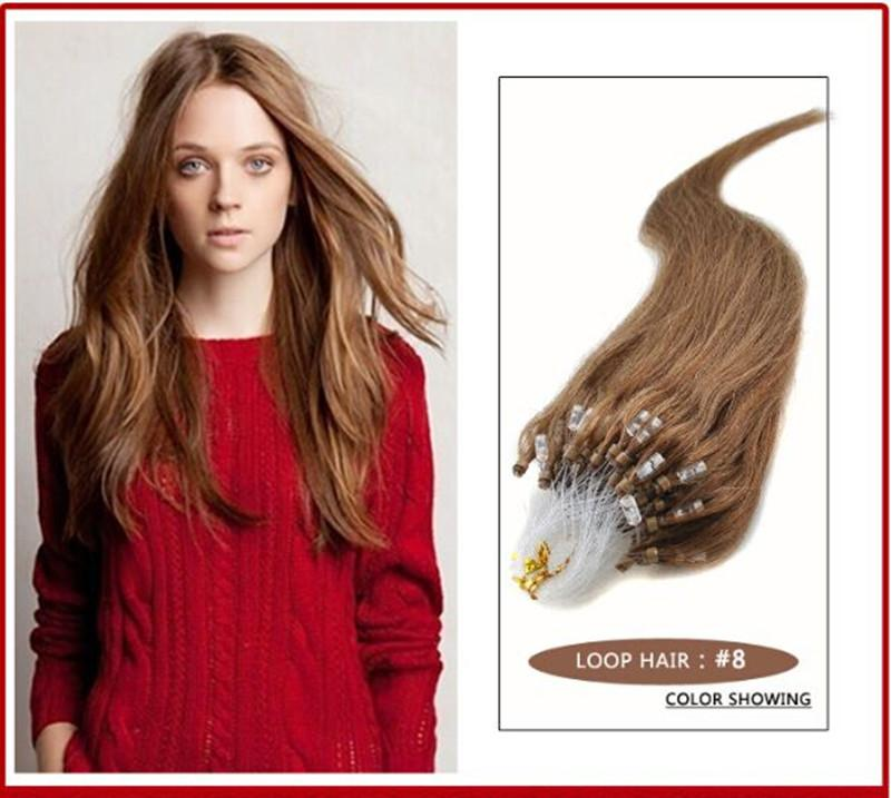 """Wholesale - 0.8g/s 200S14""""- 24"""" Micro rings/loop Indian remy Human Hair Extensions hair extention, #8 light brown"""