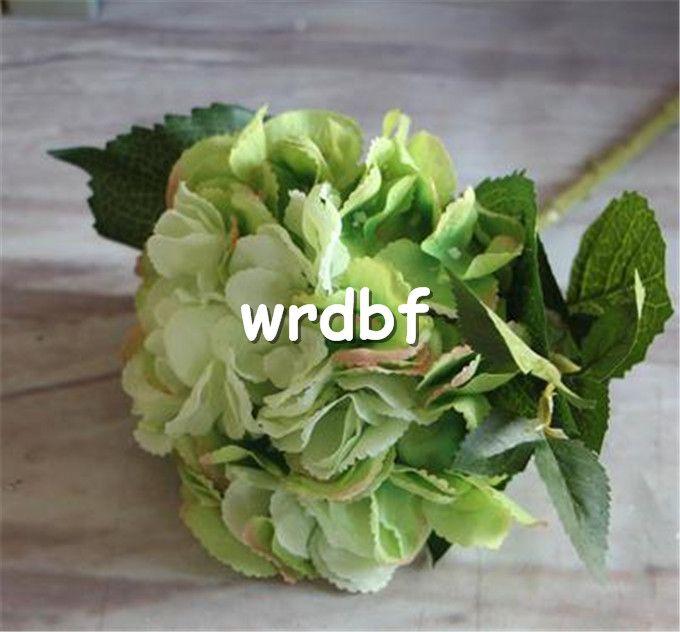 "Silk Single Stem Hydrangea 46cm/18.11"" Artificial Flowers Bohemia Hydrangeas Flower Double Petals with Green Leaf for Wedding Centerpiece"
