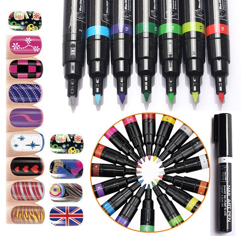 16 Farben Nail art Stift für 3D Nail art DIY Dekoration Nagellack Pen-Set 3D Design Nagel Schönheit Werkzeuge Paint Pens QJ