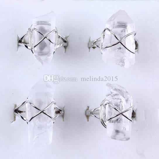 Charm Mini Rock Crystal Quartz Irregularity Natural Stone Adjustable Rings Accessories Silver Plated Fashion Jewelry