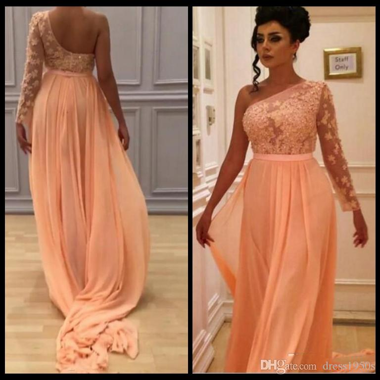 Flowing Arabic Evening Dresses Peach One Shoulder One Shoulder Sleeve Beaded Lace Appliques Illusion Top Prom Party Gowns with Sash