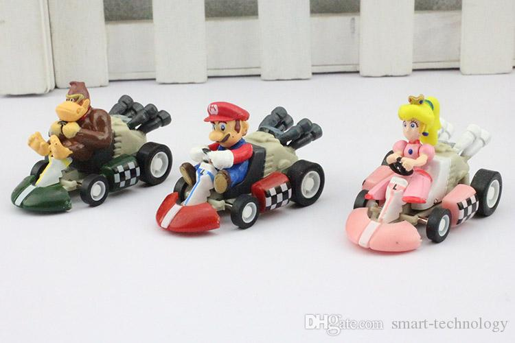 Super Mario Bros Kart PULL BACK Car Figures Children's Gift Sets Plastic Toys
