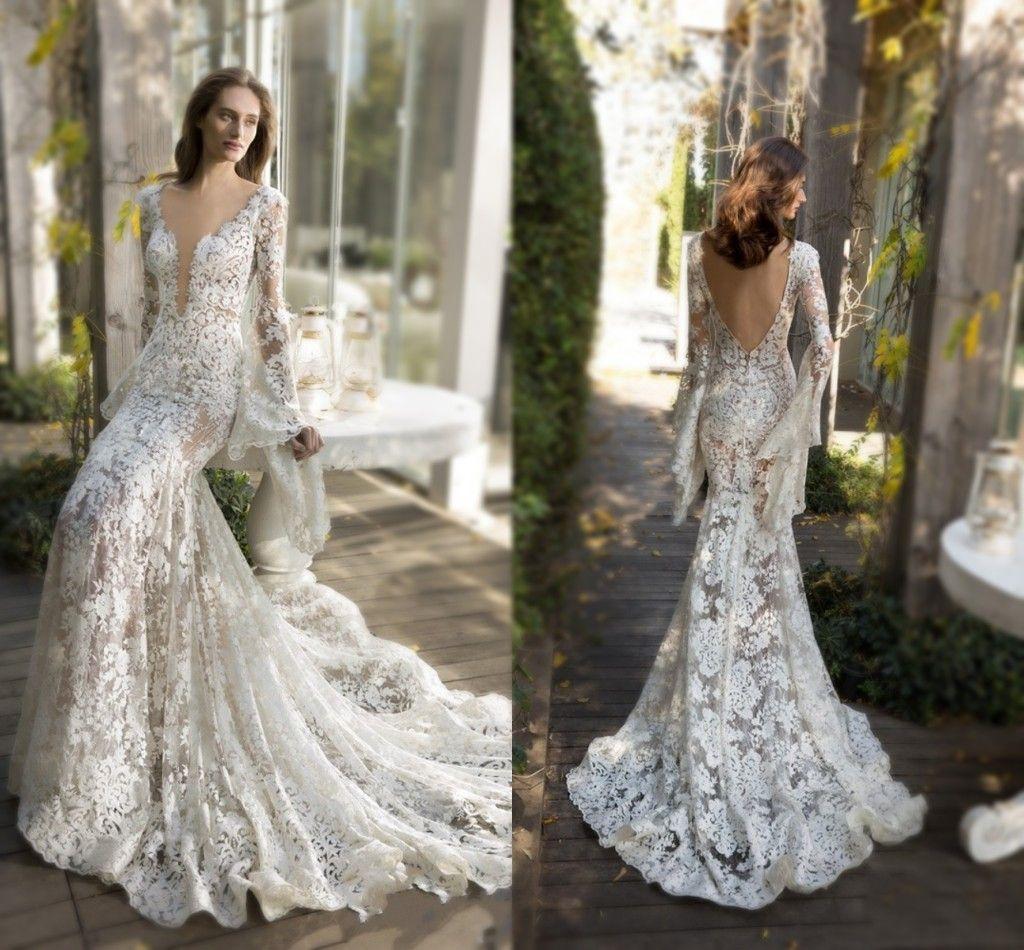 Amazing Full Lace Wedding Dresses 2016 Low Cut Trumpet