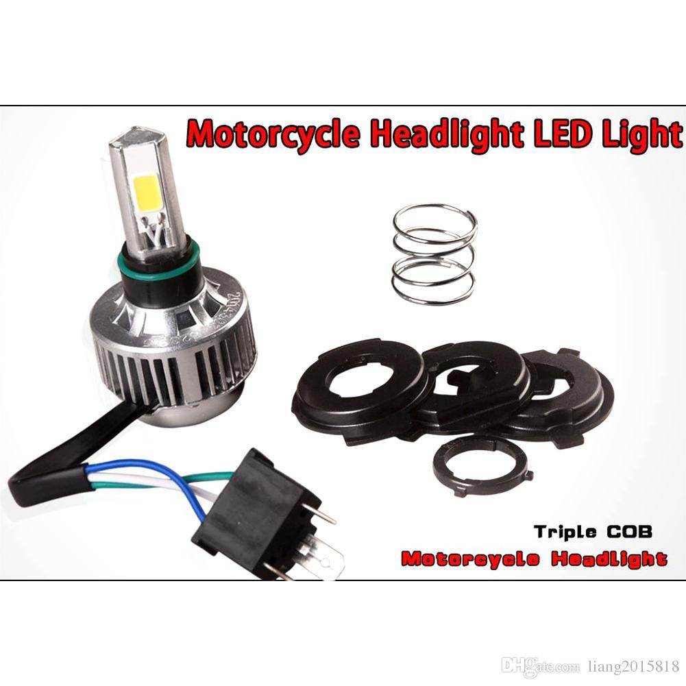 Мотоцикл фары H4 COB светодиодные лампы освещения высокой мощности спрятал Белый Привет / ближнего света кафе гонщик мотоцикл свет аксессуары