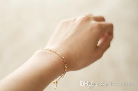 Braccialetti d'oro Bracciali in oro a doppio strato con catena satellite