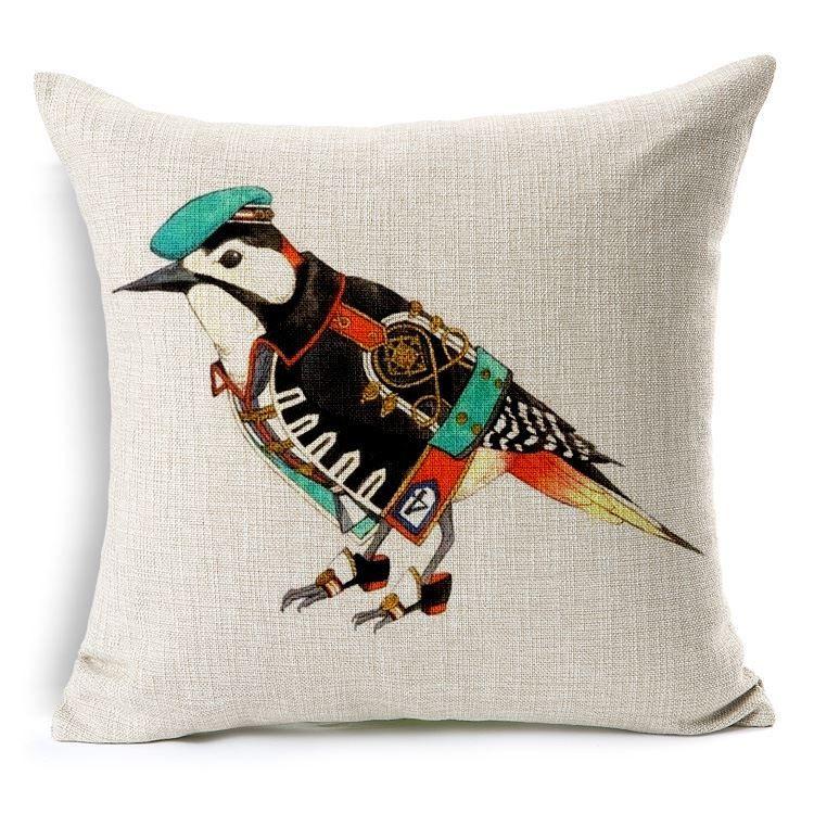 Cushion Cover Lovely Cartoon Funda Cojin Decorativa Linen Pillow Cover Hand Painted Pillowcase Birds Pillow Case 45cm*45cm