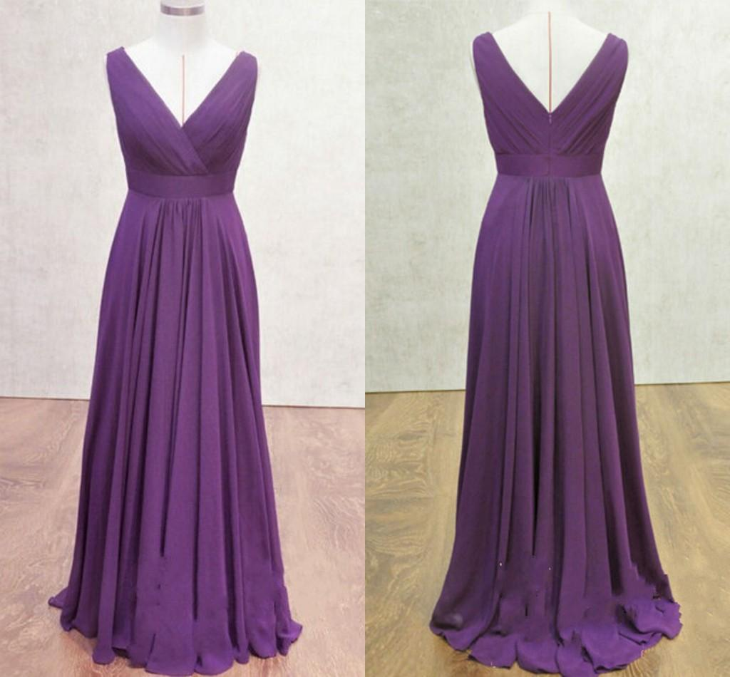 Real samples deep purple bridesmaid dresses v neck cap sleeve open see larger image ombrellifo Images