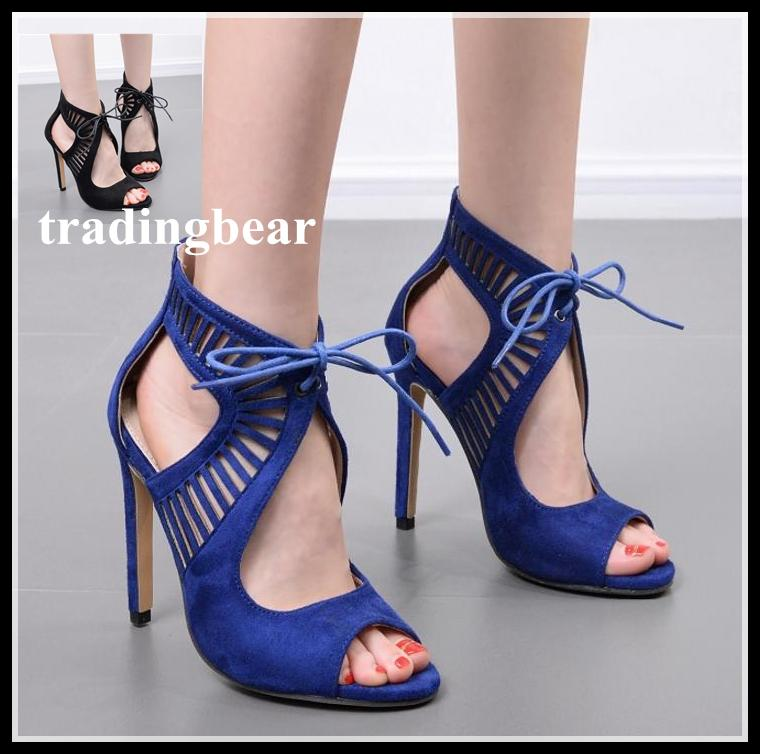 Sexy High Heel Sandals Royal Blue Black Hollow Out Lace Up ...