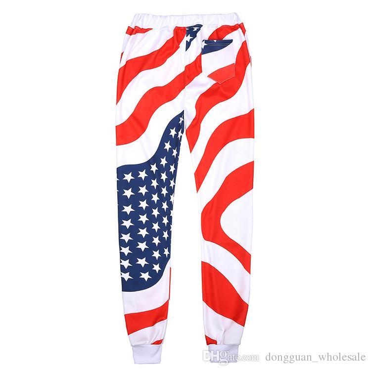 Hombres / Mujeres 3D American Flag Print Trajes deportivos Hip Hop Emoji O-Neck Sudaderas + Pantalones Jogger Chándal Running Jogging Hoodies Set