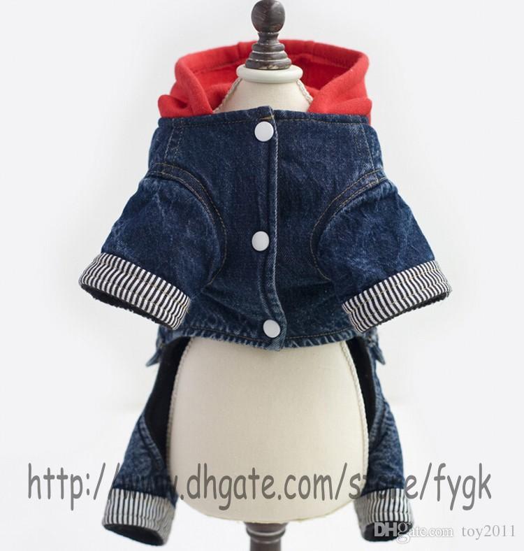 Pet Clothes Dog Clothing Dog Fancy Jeans Pants Warm Winter Dog Sport Sweater Cheap Pet Jumpsuit Coat Warm Fleece Pet Clothes 5 Size