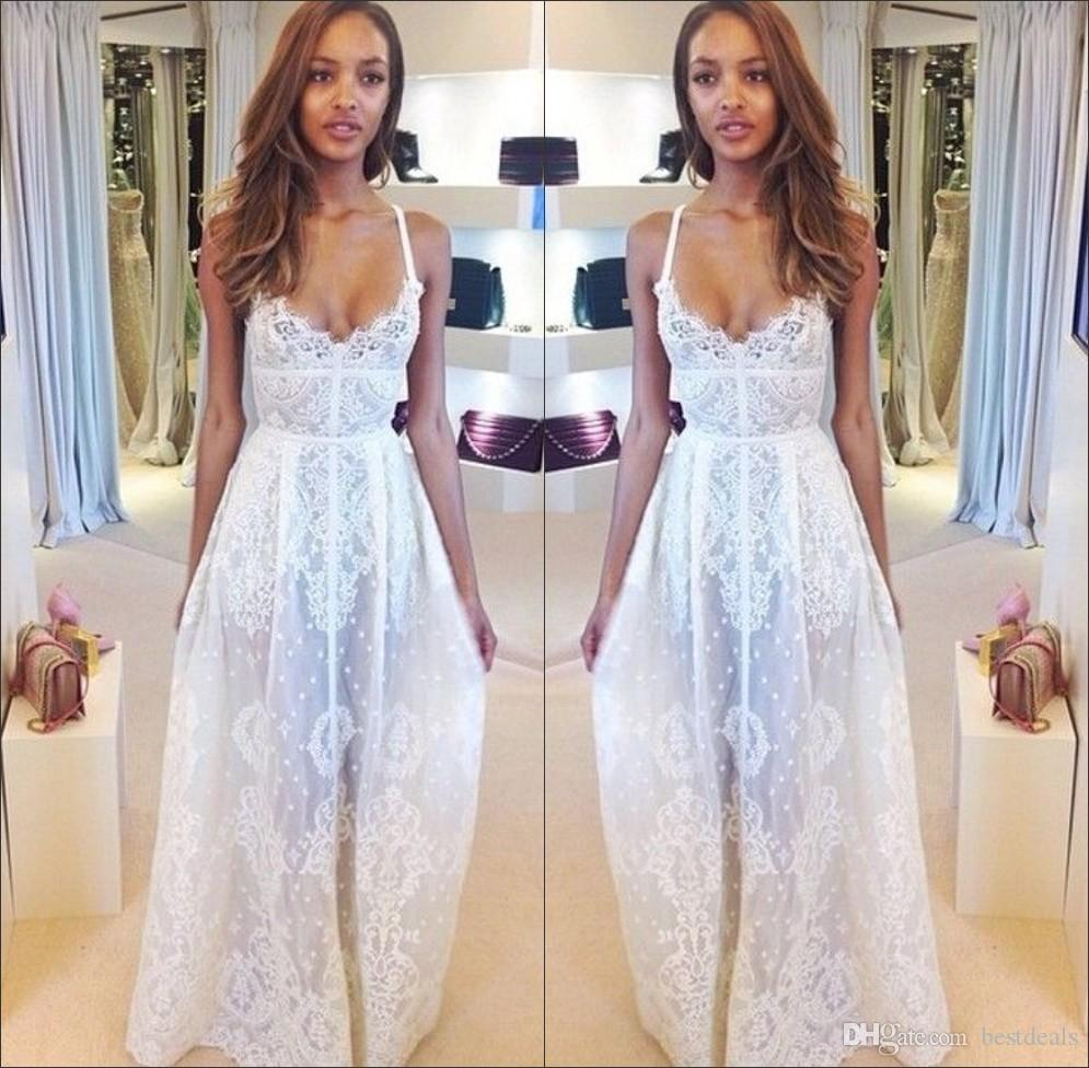 Discount summer beach wedding dresses 2015 spaghetti straps boho a discount summer beach wedding dresses 2015 spaghetti straps boho a line lace wedding dresses backless sheer bridal gown long prom dresses new bo5800 wedding ombrellifo Images