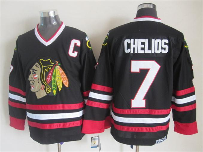 a7b85afd684e chicago blackhawks  2018 new throwback hockey jerseys chicago blackhawks  jersey 7 chelios black white red color ccm high
