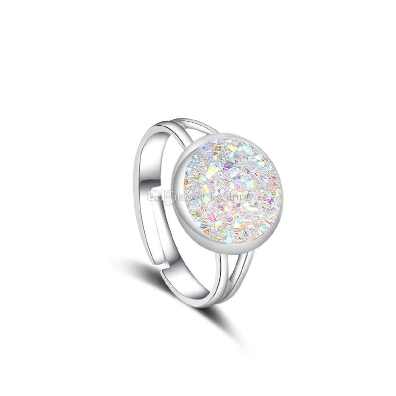Resin Druzy Drusy Ring Popular Silver Plated Faux Rock Stone Rings Women New York Jewelry