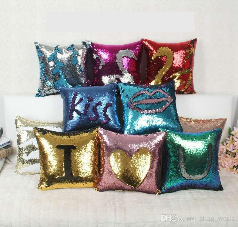 Sequins Pillow Case Mermaid Cushion Cover Magical Two Color Changing