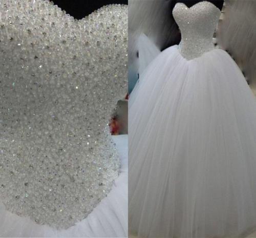 Nieuw ontwerp baljurk kristallen trouwjurken lieverd witte tule vloer lengte 2019 bruidsjurken lace-up rug op maat gemaakt