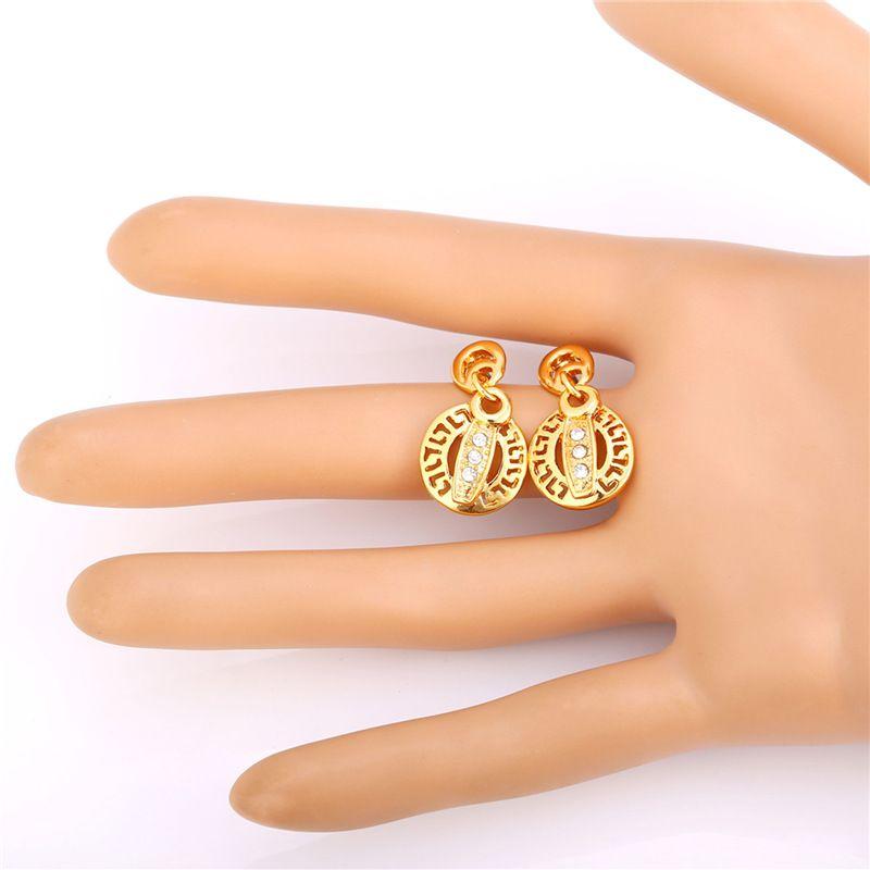 Dames Hollow G Pattern Gold Earrings 18k Real Vergulde Rhinestone Afrika Vintage Charme Ketting Set
