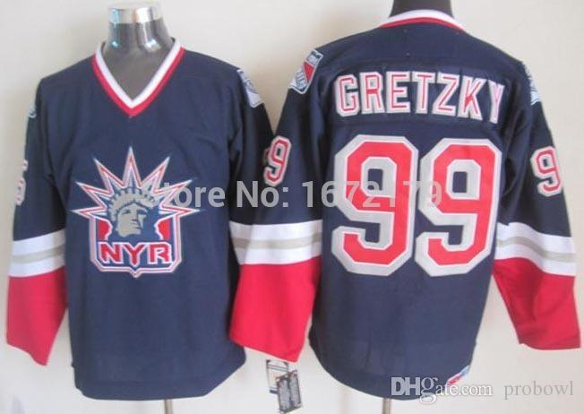 NEW YORK RANGERS 1998 WAYNE GRETZKY LIBERTY LOGO NAVY BLUE ALTERNATE TURN  BACK CCM STITCHED HOCKEY JERSEYS SHIRTS From Probowl e3b833555