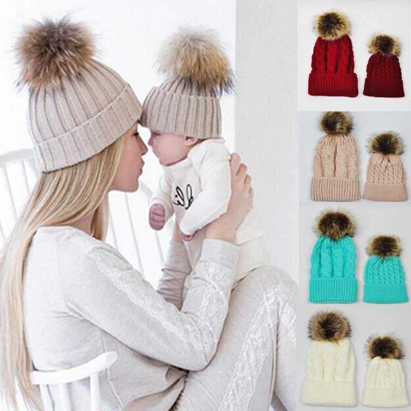 Baby Knitted Wool Hat Caps for Girls Toddler Crochet Beanies Fur Ball Cute  Baby Boys Hats Family Cap Gorros Para Bebe Baby Knitted Wool Hat Family Cap  Baby ... 83c940f35b8e