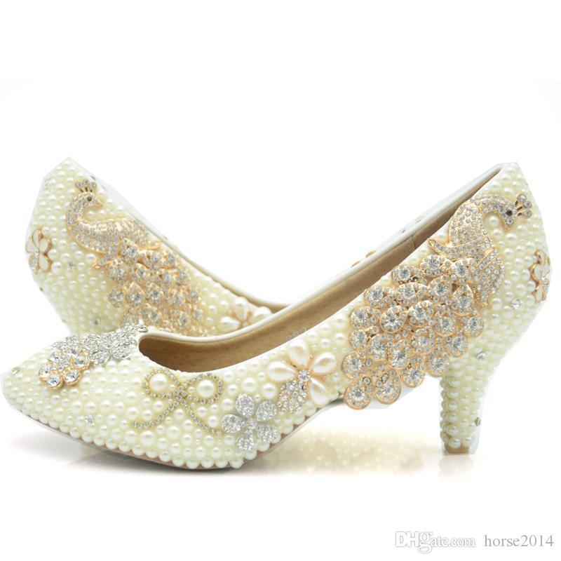 2019 Sapatos de Casamento de Marfim Pérola Meia Salto de Noiva Sapatos de Festa de Aniversário Sapatos de Plataforma de Strass Phoenix Contas Mãe dos Sapatos de Noiva