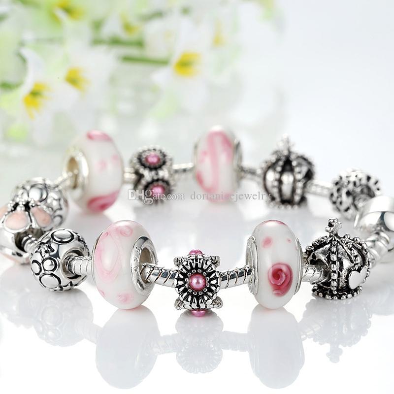 Элегантный Шарм браслеты с розовым Munrano стеклянные бусины Корона серебряные подвески новый браслет браслеты для женщин BL079