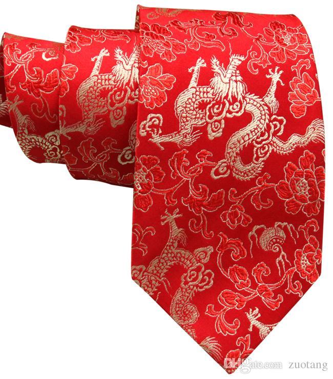 Creatieve Lucky Dragon Designs Stropdassen Chinese Stijl High End Natural Genuine Silk Brocade Heren Standaard Ties voor Banquet Party Verjaardag