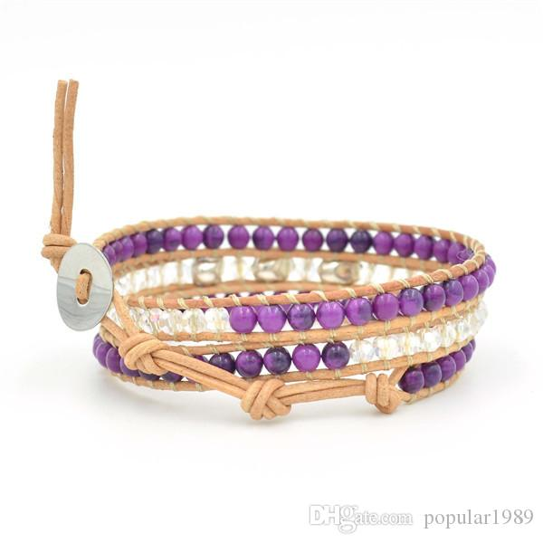 Purple agate and crystal beads skull bracelet, retail and wholesale genuine leather wrap bracelet