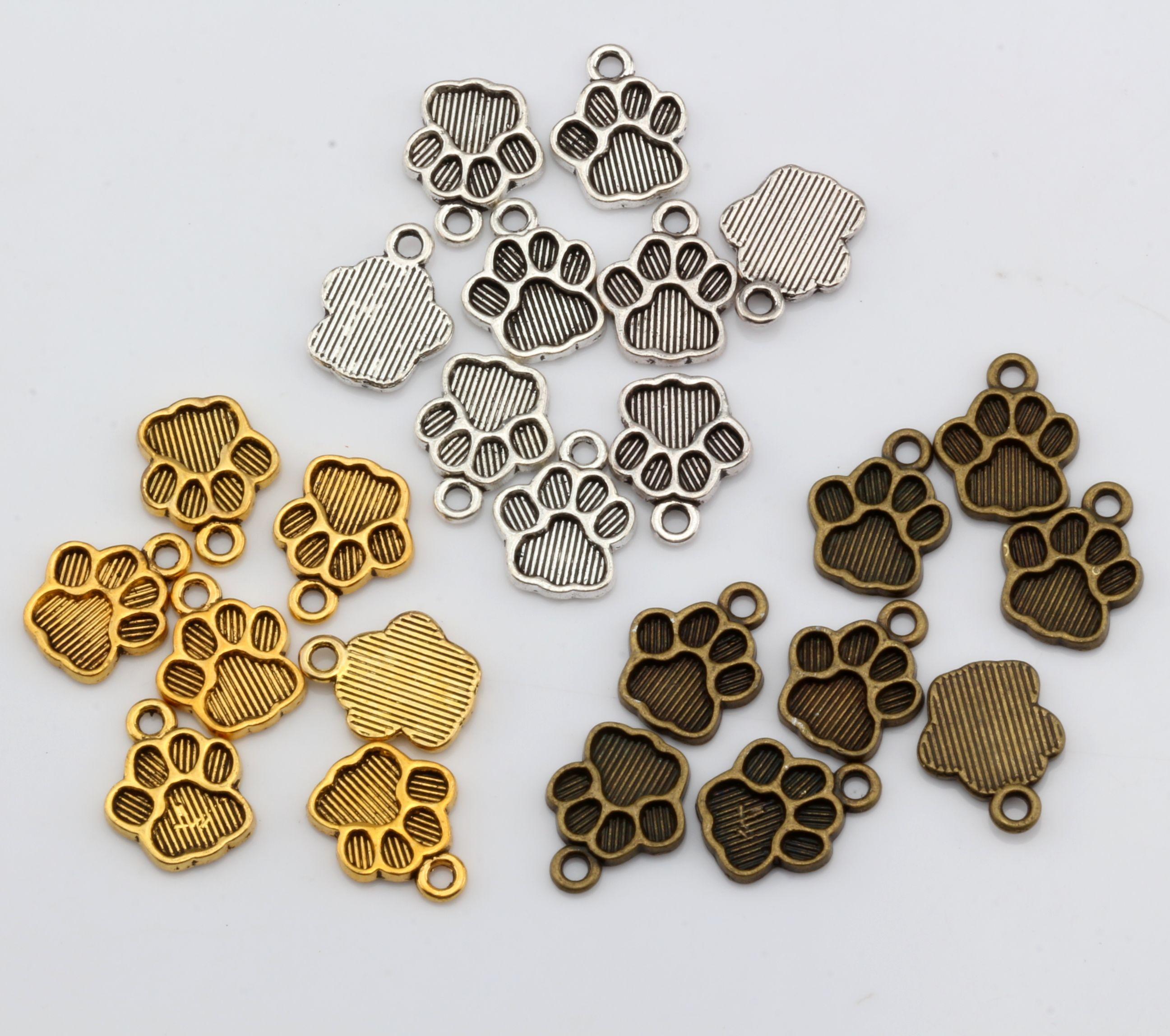 Vendite calde! 250 pezzi d'argento antico / bronzo antico / oro antico tono zampa stampa pendenti ciondolo 12 * 15mm gioielli fai da te