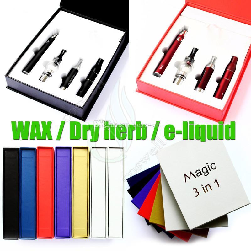 Top quality magic 3 em 1 kit cera seca erva e líquido atomizadores ecigs kit óleo ecig caneta vapor MT3 AGO G5 globo de vidro 3em1 evod bateria vaporizador