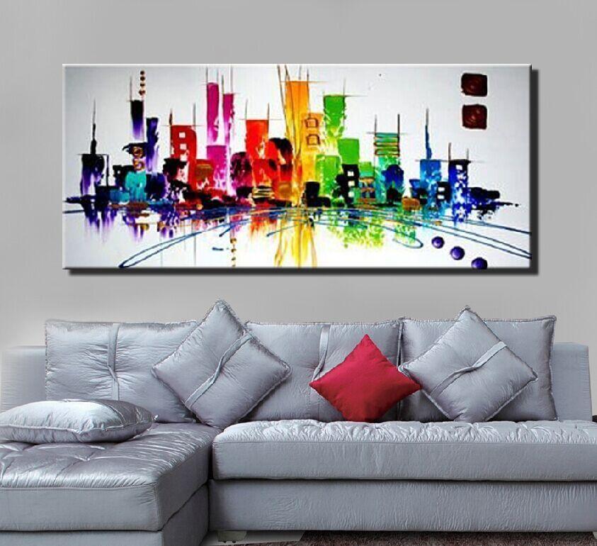colorfull мода современный абстрактный Нью-Йорк живопись город night light холст картина маслом для гостиной одностеночная картина искусства