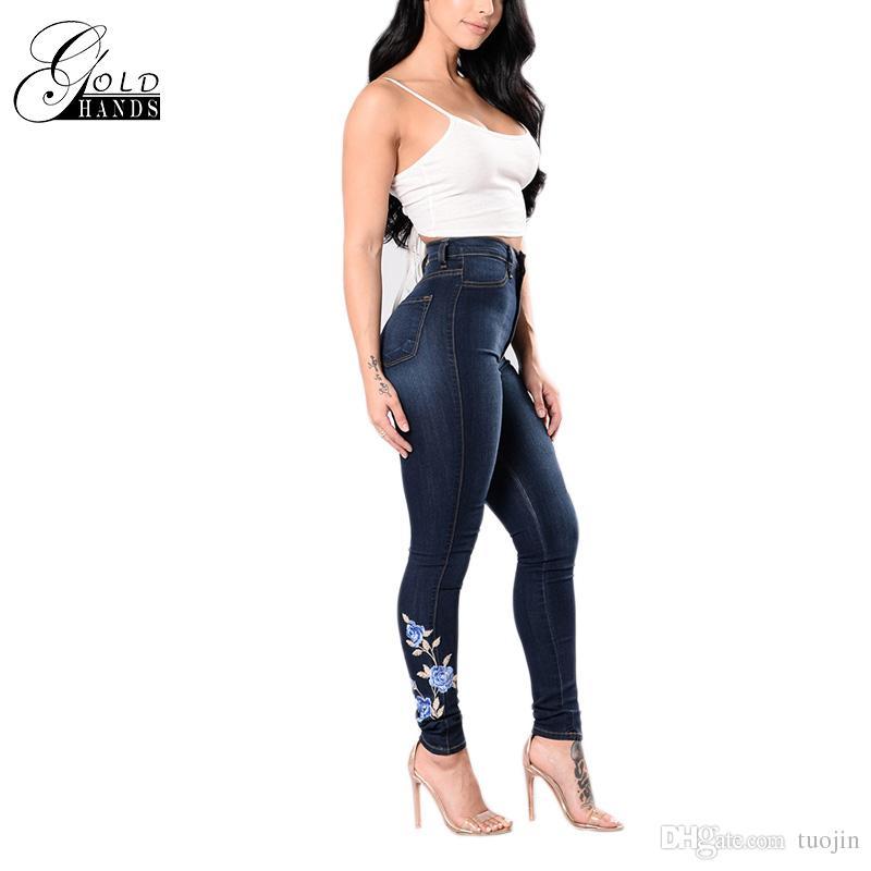 67d602d8272079 Großhandel Gold Hands Slim Skinny Frauen Bleistift Hosen Streetwear  Elastische Hosen Jeans Weibliche Push Up Stickerei Hohe Taille Denim Hose  Von Tuojin, ...