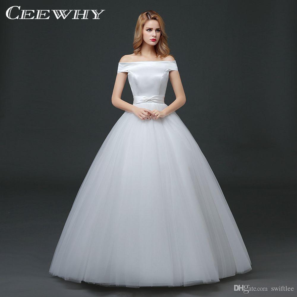 CEEWHY Boat Neck Back Lace-up Wedding Dresses Korean Style Floor ...