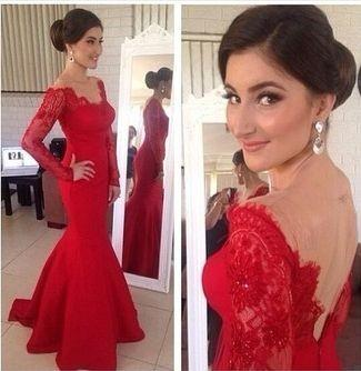 Red Long Sleeve Evening Dress Sheer Neck Mermaid Prom gowns Vestidos De Festa Sexy Backelss party Dresses 2015