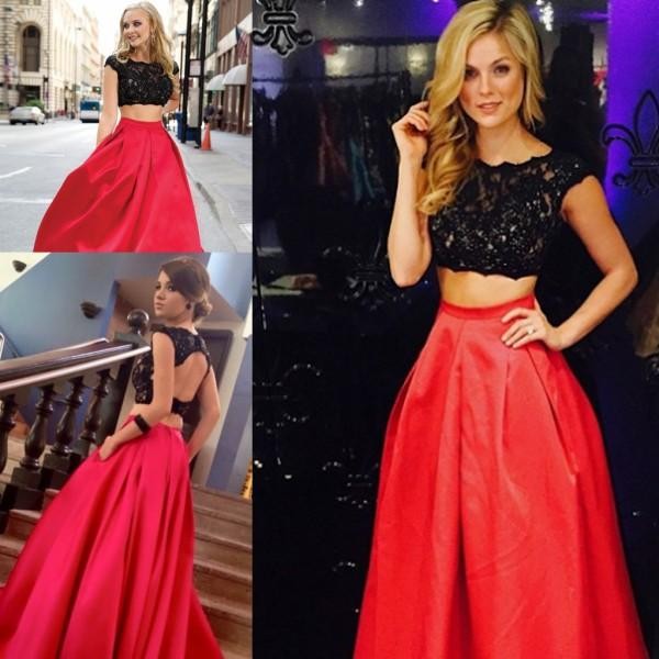 2015 Two Pieces Long Prom Dresses Jewel Black Lace Top Dance Party ...