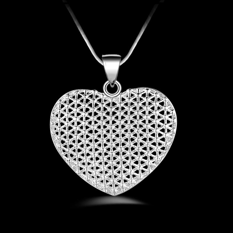 Бесплатная доставка высокое качество мода 925 серебряный Кристалл сердце ожерелье ювелирные изделия 925 Серебряное ожерелье День святого Валентина подарки горячие 1617