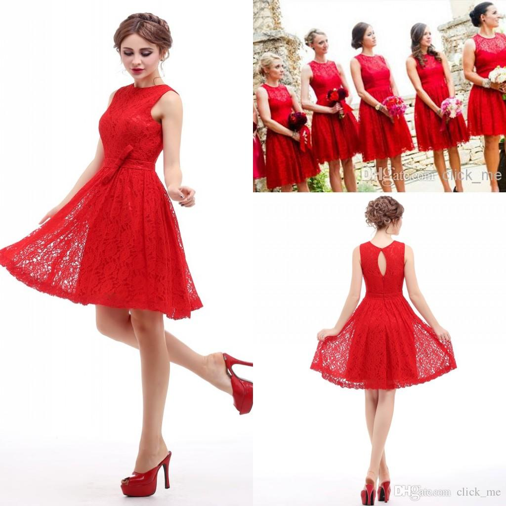 Real Image Red Short Bridesmaid Dresses Under $50 Jewel Hollow And ...