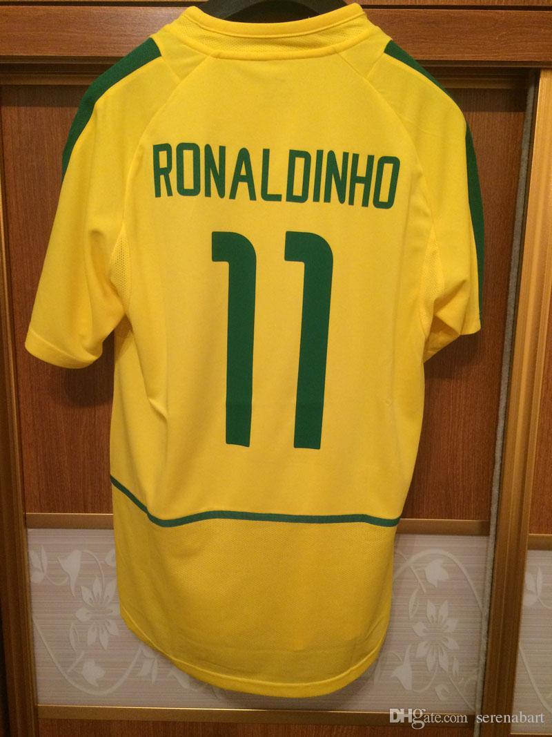 ae12c94628b 2019 2002 Vintage Retro Jersey Ronaldo Rivaldo Ronaldinho Jersey With  Sleeve Patch Soccer Shirt From Serenabart