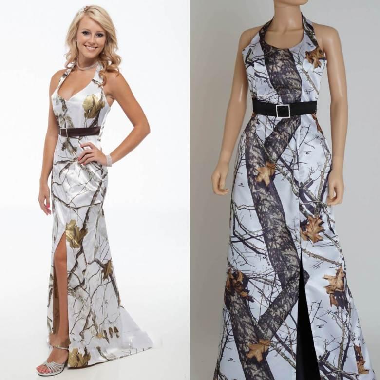 Summer Beach Sheath Camo Wedding Dresses 2015 Halter Split Side Plus ...