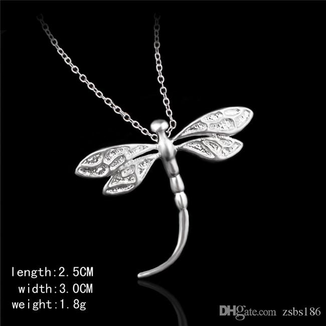 Projeto bonito 925 sterling silver libélula pingente de colar de festa de moda jóias para as mulheres frete grátis