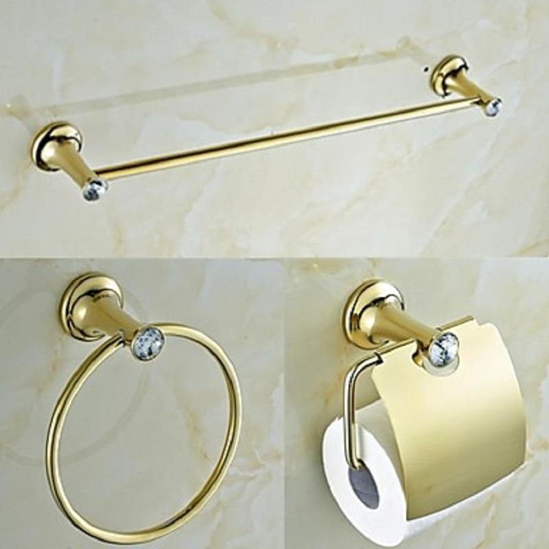 See Larger Image2017 Contemporary Golden Crystal Brass Bathroom Accessories  Set