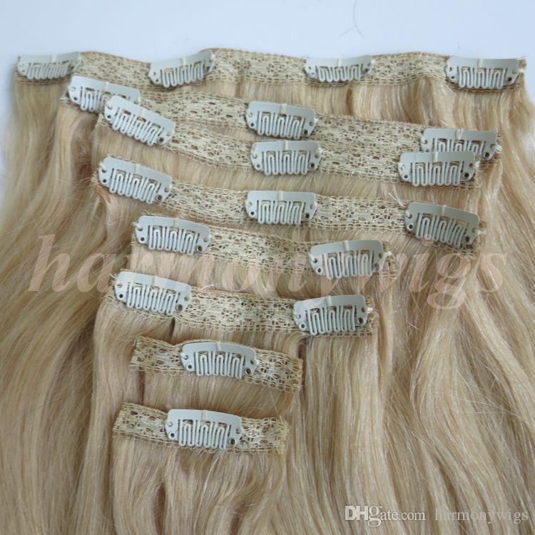 280г 20 22 дюйма 100% человеческих волос клип в наращивание волос гладкий бразильские волосы 613#/Bleach блондинку прямо волос 8шт/комплект бесплатная расческа