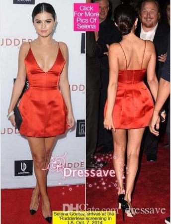 f330d3cbca 2015 Selena Gomez Red Carpet Christmas Dress Celebrity Dresses Cocktail  Dress Backless Spaghetti V Neck Short Mini Party Dresses BO7010 Cocktail  Dress For ...