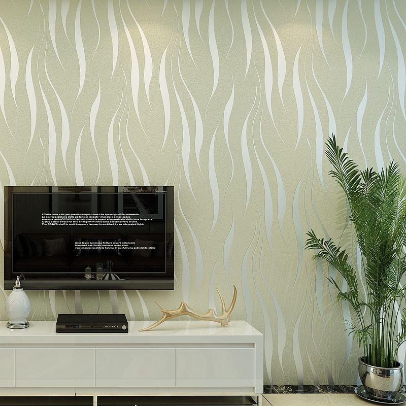 Modern 3D Non Woven Wallpaper Bedroom Living Room Background Beauty Salons  Paved Purple Red Wavy Stripes Wallpaper