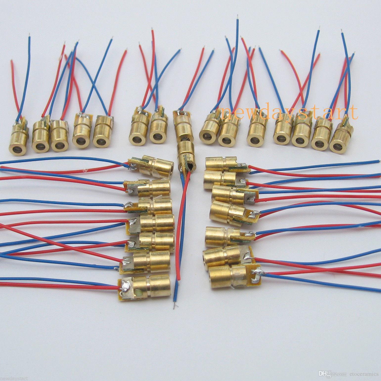 Lazer Nokta Modülü Lazer Diyot Modülleri Kırmızı Bakır Kafa 650nm 6mm 6.5mm 3 V 5 V 12 V 5 mW 1000 ADET / GRUP