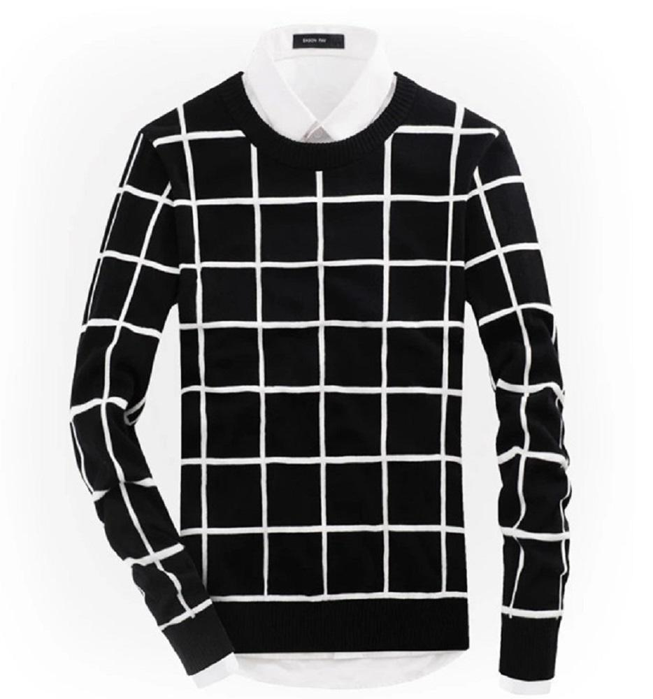 2018 Mens British Style Plaid Knitwear Lambswool Tartan Crew Neck ...