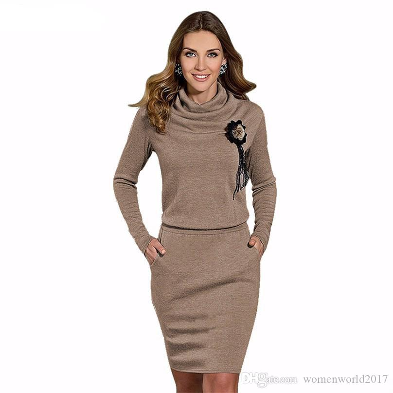 534724ec1e41d Winter Sweater Dress For Women Long Sleeve Turtle Neck Sheath Dress Ladies  Slim Fit Knit Casual Dresses Black Blue Brown Sequin Dresses Sweater Dresses  From ...